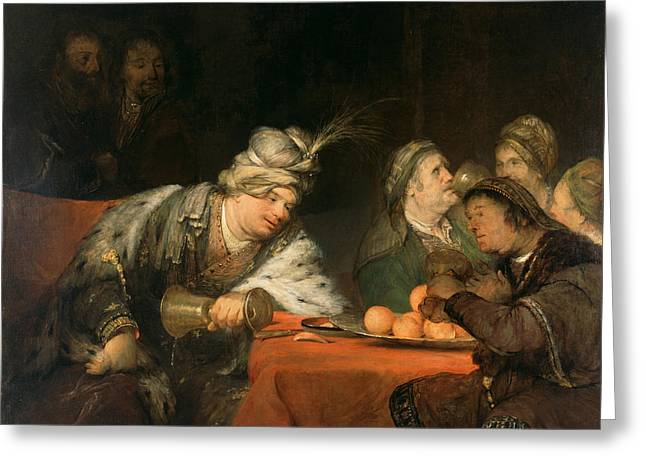 The Banquet Of Ahasuerus Greeting Card by Aert de Gelder