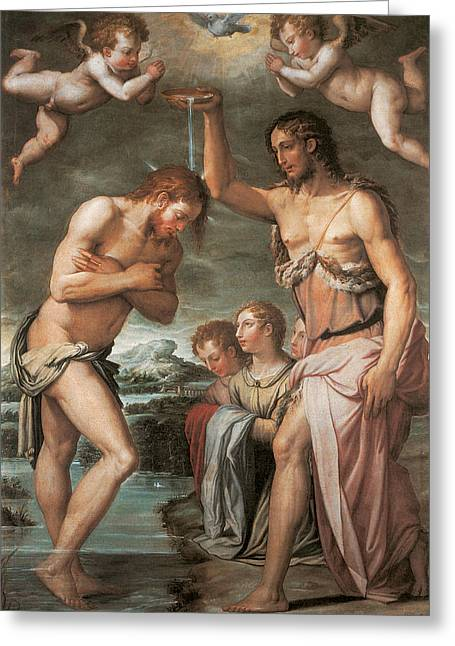 The Baptism Of Christ Greeting Card by Giorgio vasari