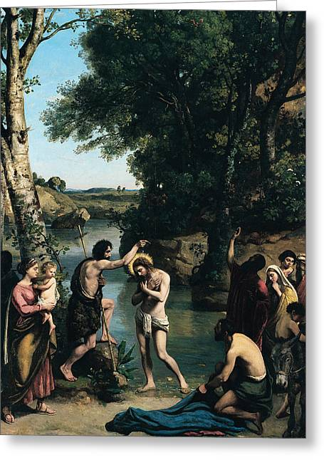 The Baptism Of Christ Greeting Card by Jean Baptiste Camille Corot