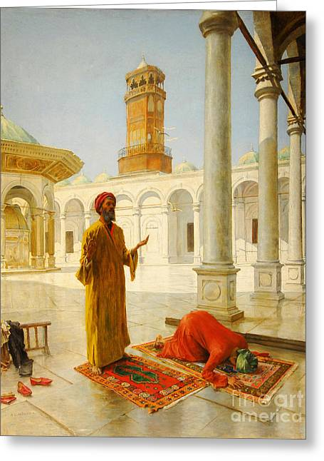 Muslim Prayer Greeting Card by Albert Joseph Franke
