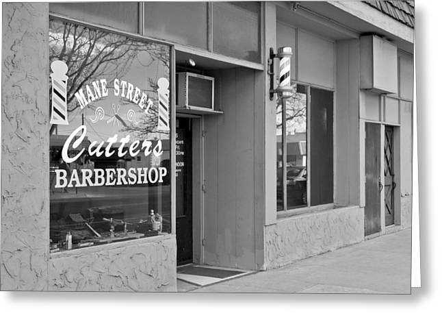 The Barber Shop 3 Bw Greeting Card by Angelina Vick