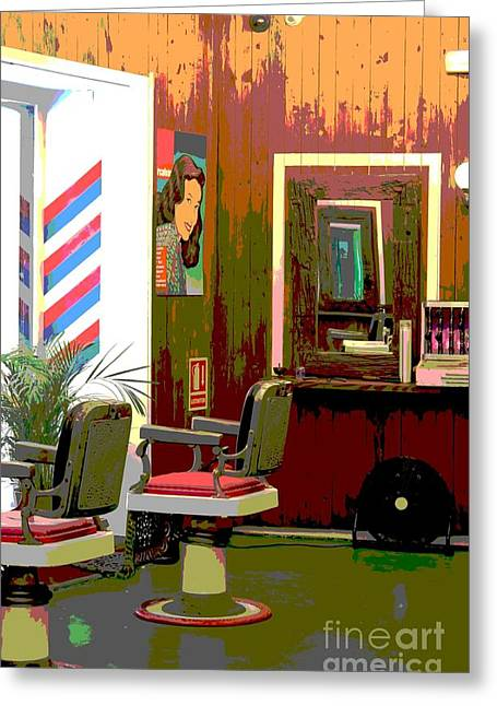 The Barber Shop Greeting Card by Sophie Vigneault