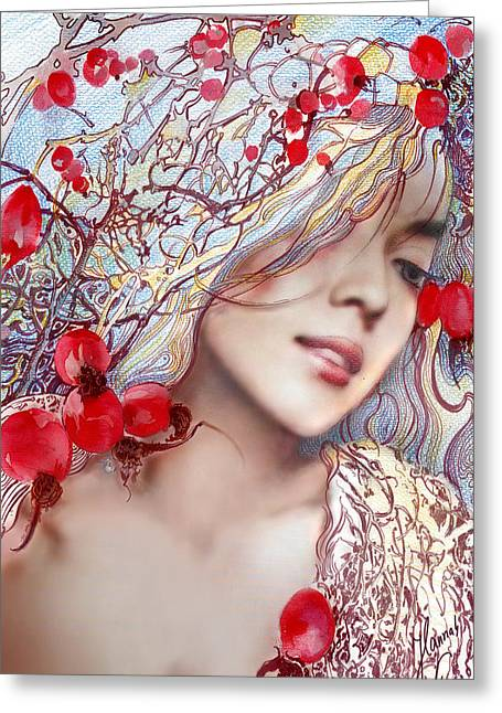 Greeting Card featuring the painting The Barberry by Anna Ewa Miarczynska