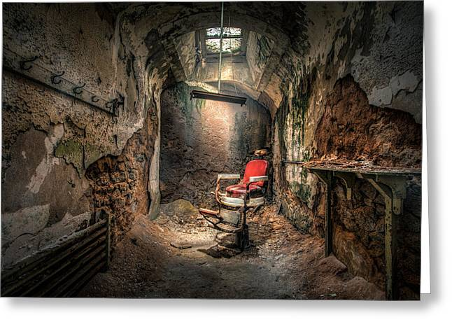 The Barber's Chair -the Demon Barber Greeting Card by Gary Heller