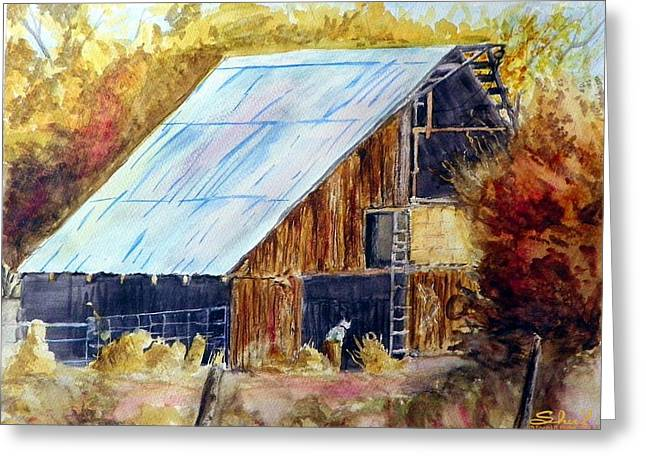 Greeting Card featuring the painting The Barn Mouser by Sherril Porter