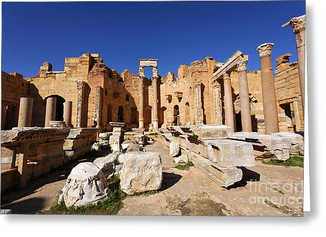 The Basilica Of Severus At Leptis Magna In Libya Greeting Card by Robert Preston