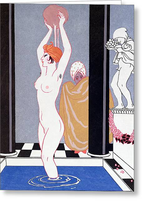 The Basin Greeting Card by Georges Barbier