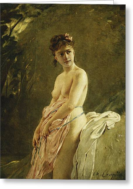 The Bather Greeting Card by Charles Chaplin
