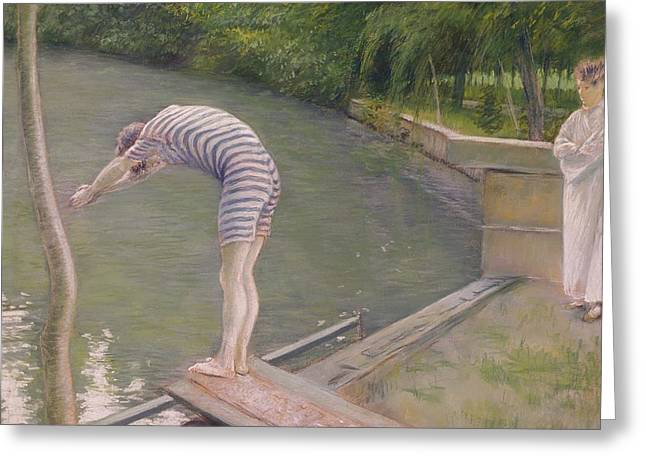 The Bather Or The Diver Greeting Card by Gustave Caillebotte