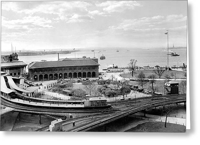 The Battery In Manhattan Greeting Card by Underwood Archives