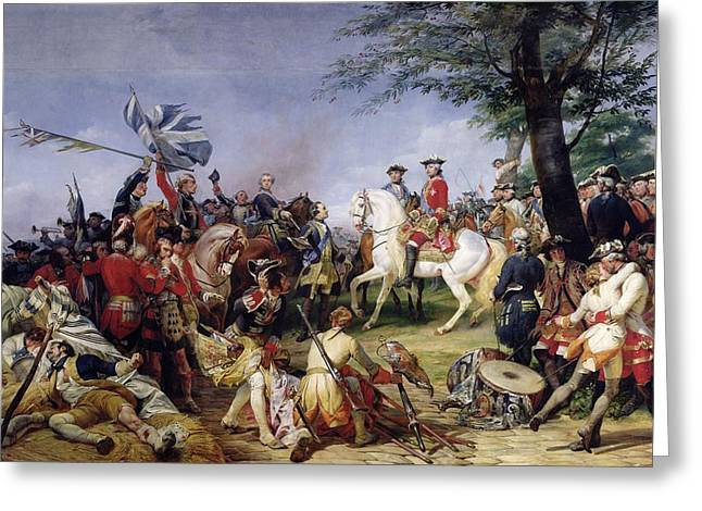 The Battle Of Fontenoy, 11th May 1745, 1828 Oil On Canvas Greeting Card by Emile Jean Horace Vernet