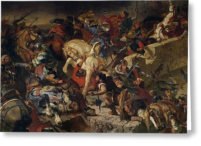 The Battle Of Taillebourg, 21st July 1242, 1837 Oil On Canvas Greeting Card by Ferdinand Victor Eugene Delacroix