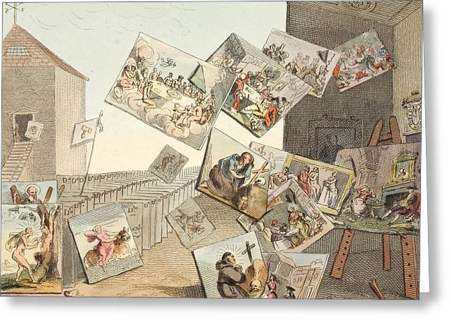 The Battle Of The Pictures Greeting Card by William Hogarth