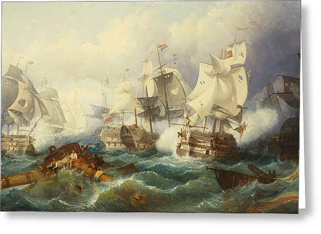 The Battle Of Trafalgar Greeting Card by Philip James de Loutherbourg