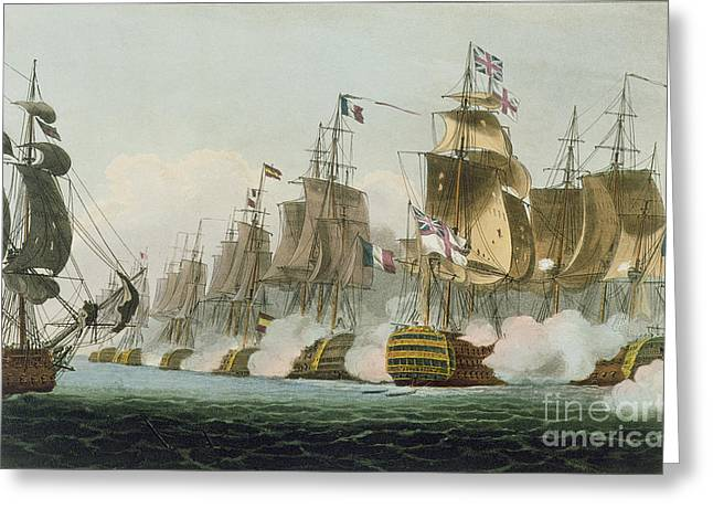 The Battle Of Trafalgar Greeting Card by Thomas Whitcombe