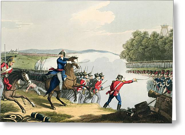 The Battle Of Waterloo Decided Greeting Card by John Augustus Atkinson