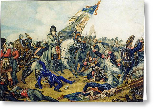 The Battle Of Waterloo In 1815, 1831 Wc & Ink On Paper Greeting Card by Charles Steiben