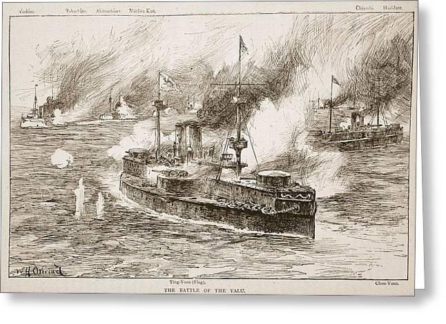 The Battle Of Yalu River, 1894 Greeting Card by William Heysham Overend