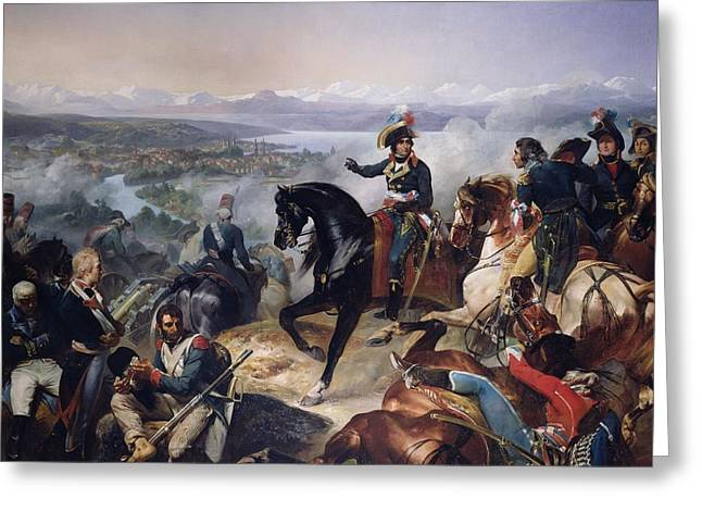 The Battle Of Zurich, 25th September 1799, 1837 Oil On Canvas Greeting Card by Francois Bouchot