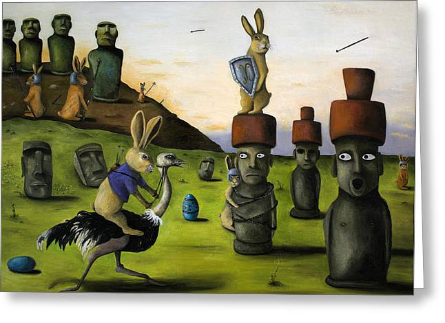 Hare Greeting Cards - The Battle Over Easter Island Greeting Card by Leah Saulnier The Painting Maniac