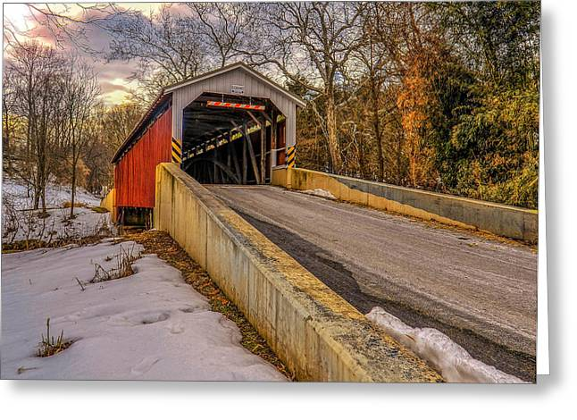 The Baumgardener's Covered Bridge Greeting Card by Dave Sandt