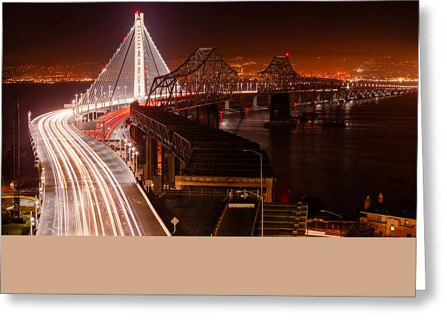 The Bay Bridges Greeting Card by Alexis Birkill