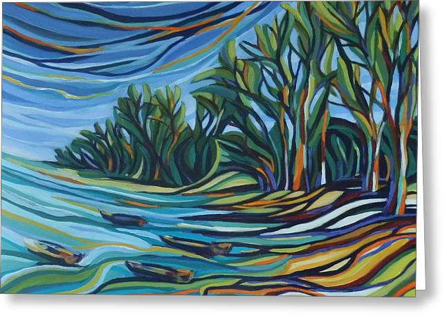 The Bay In Colors Greeting Card by Zofia  Kijak