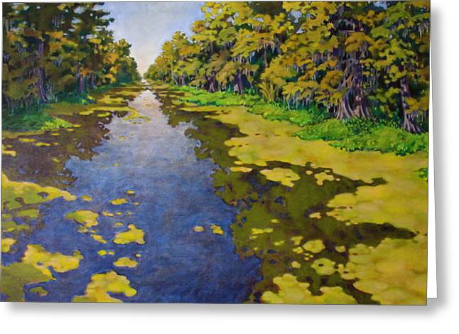 Greeting Card featuring the painting The Bayou by Andrew Danielsen
