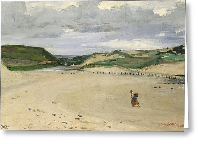 The Beach At Ambleteuse, 1869 Oil On Canvas Greeting Card