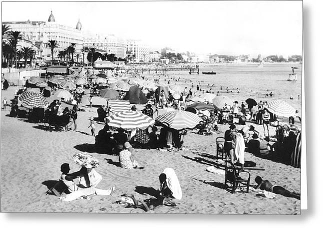 The Beach At Cannes Greeting Card by Underwood Archives