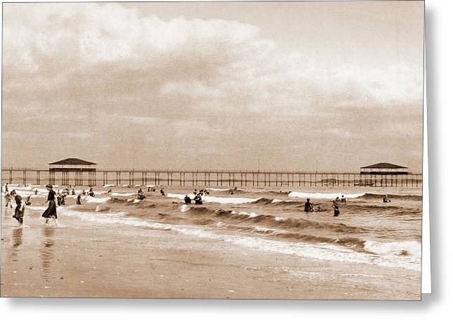 The Beach At Old Orchard, Maine, Beaches Greeting Card by Litz Collection