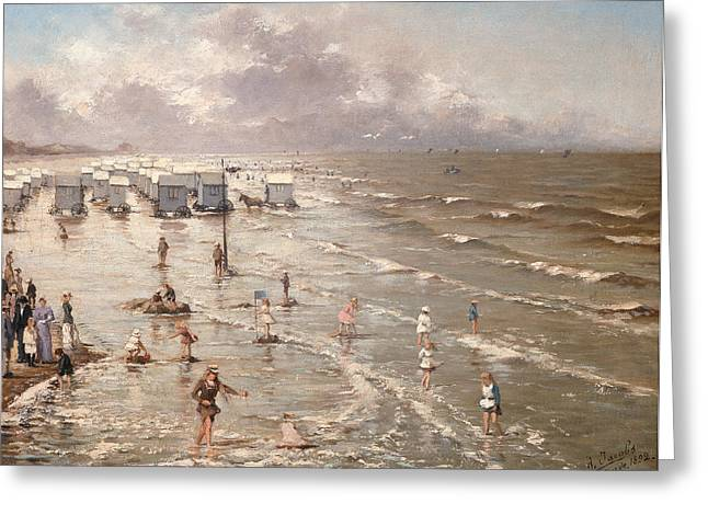 The Beach At Ostend Greeting Card by Adolphe Jacobs