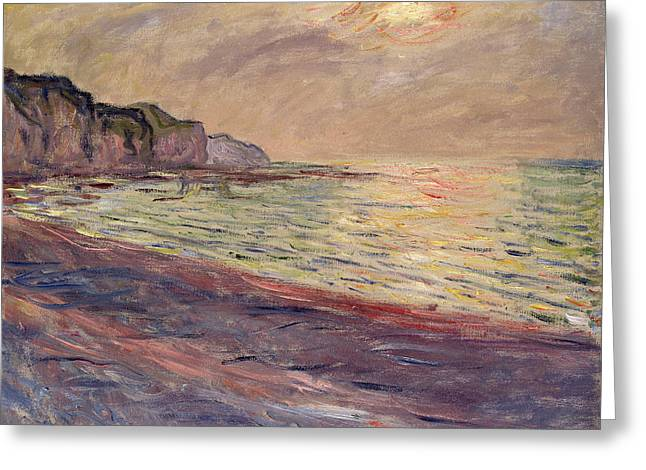 The Beach At Pourville, Setting Sun Greeting Card by Claude Monet