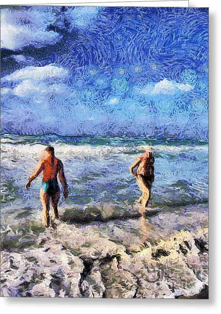 The Beach Greeting Card by Odon Czintos