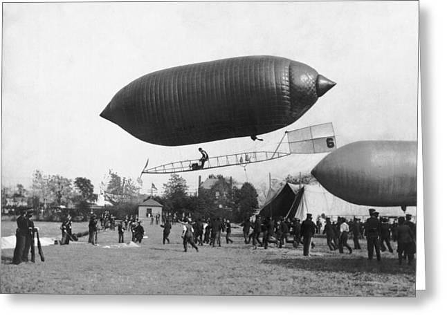 The Beachey Airship Greeting Card by Underwood Archives