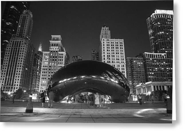 The Bean In Chicago Bw Greeting Card by John McGraw