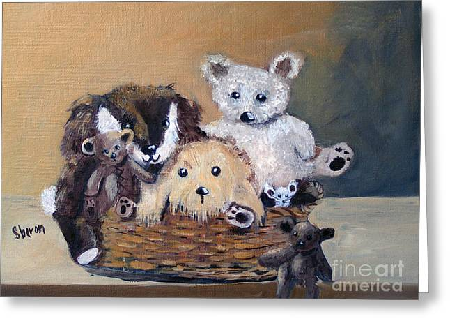The Bears Are Back In Town Greeting Card by Sharon Burger