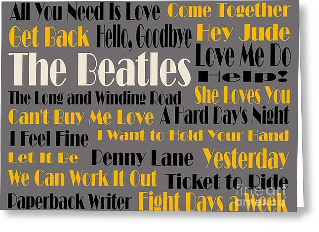 The Beatles 20 Classic Rock Songs 4 Greeting Card