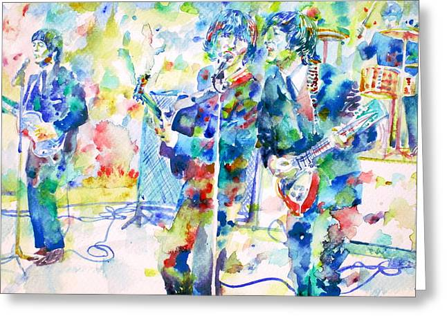 The Beatles Live Concert - Watercolor Portrait Greeting Card