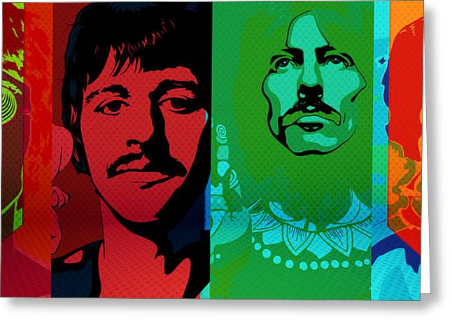 The Beatles Psychedelic  Greeting Card by Empty Wall