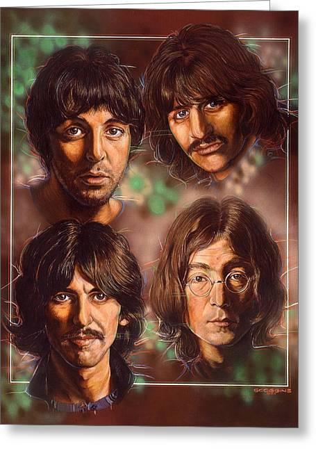 The Beatles Greeting Card by Tim  Scoggins