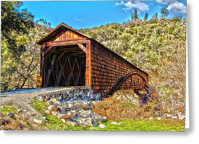 The Beautiful Bridgeport Covered Bridge Greeting Card by John Alves