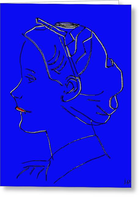 The Beautiful Virgin Chambermaid Blue Greeting Card by Sir Josef - Social Critic - ART