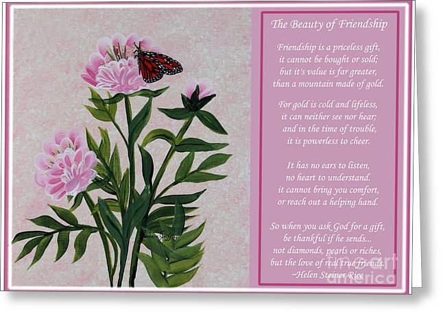 The Beauty Of Friendship Greeting Card by Barbara Griffin