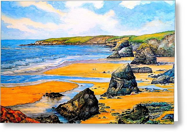 The Bedruthan Steps Cornwall Greeting Card by Andrew Read