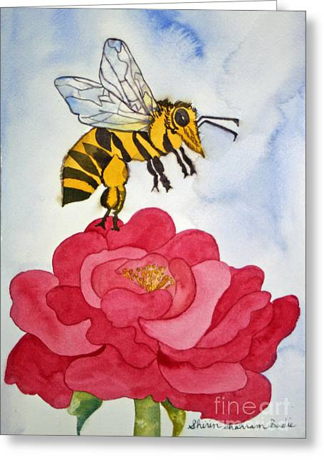 Greeting Card featuring the painting The Bee And The Rose by Shirin Shahram Badie