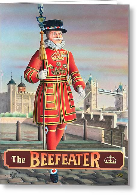 The Beefeater Greeting Card by Peter Green