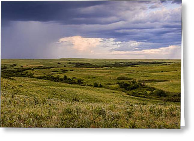 The Beginnings - Flint Hills Storm Pano Greeting Card