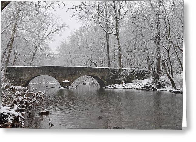 The Bells Mill Road Bridge In Winter Greeting Card by Bill Cannon
