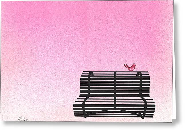 The Bench Greeting Card by Daniele Zambardi